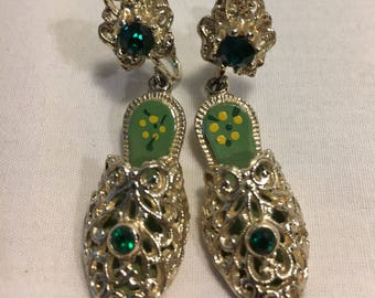 Silver Emerald Screw Back Earrings, Silver Slippers with Green Emerald Stones, Vintage, Lady Slippers, Shoes