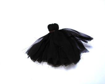 Small pom poms hand sewn black veil