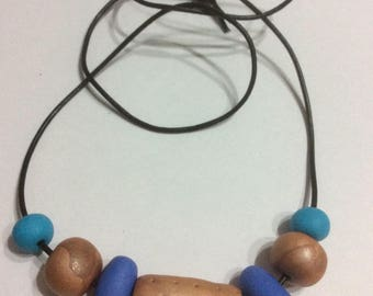 Bronze and blue polymer clay necklace
