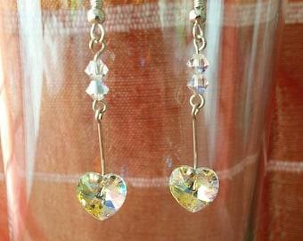 Stylish swarovski hearts drop earrings