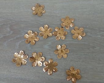 Sequin golden flowers set of 10