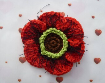 Poppy red, Brown, green and black cotton crochet