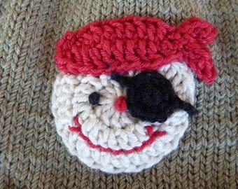 Pirate - handmade cotton crochet application