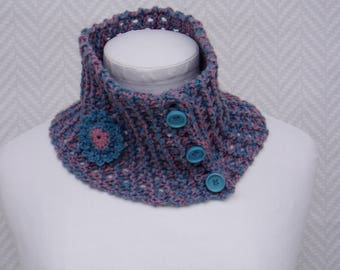 Scarf neck mottled pink and blue; hand knitted