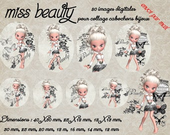 """""""Images digital louse cabochons jewelry ' Miss beauty"""" white, black, I am, butterfly"""