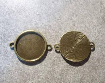 bronze metal 18mm round cabochons connectors