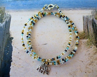 Silver and blue elephant or gradient necklace beaded charm bracelet
