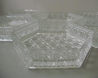 Vintage compote set,serving dish/plate,6 pcs,glassware