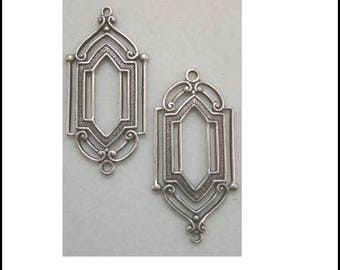 2 connectors silver plated art deco earrings 27 X 14 mm