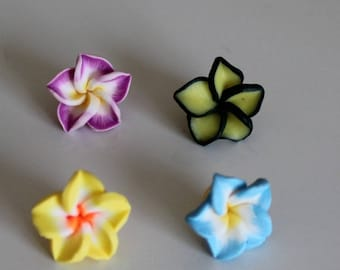 1 set of 4 flowers of Polynesia, 15 mm polymer ref No. 6
