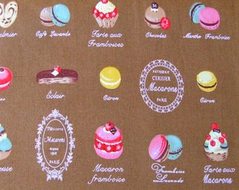 Fabric cotton delicacies cakes, candies, cakes, pastries, sold by 10 cm x 110 cm