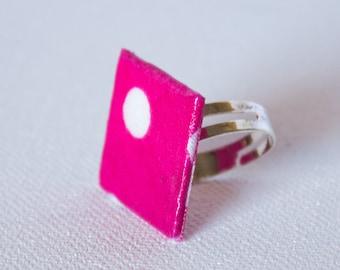 Square ring fabric pink polka dots