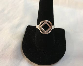 Sterling silver ring with the narcotics anonymous symbol