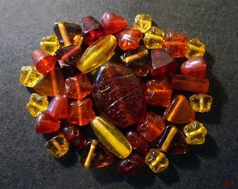 38 Indian orange, yellow, red glass beads