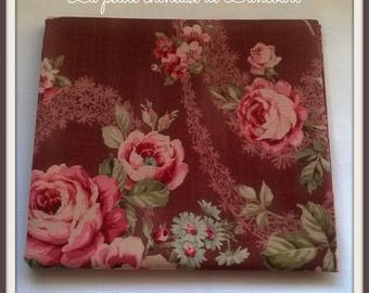 Antique large pink roses Lecien fabric coupon