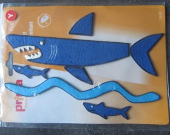 Set fusible felt embellishments - theme: sharks and sea