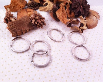 4 large double flat rings, matte silver, 25 x 1.7 mm