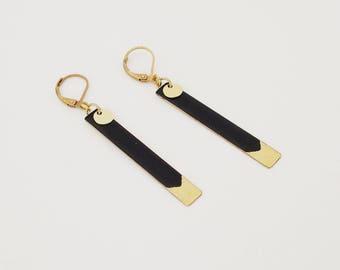 Enamel jewelry - Black long earrings