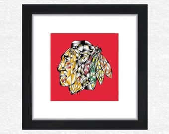 Chicago Blackhawks digital shatter art print // back to school // college dorm decor // Chicago sports