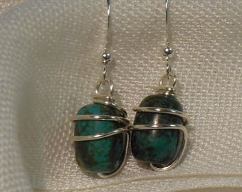 Wrapped azurite earrings with silver plate