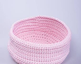 Handcrafted crochet basket from Romania