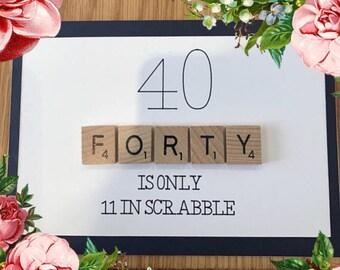 Navy scrabble tile Birthday card