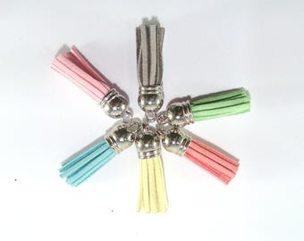 Tassel charms 6 multicolored suede Imitation deer (123 (A)