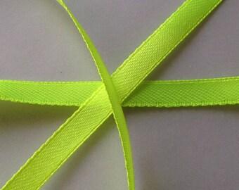 SET of 22 yards 13 bright green 6mm SATIN Ribbon