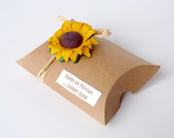 Set of 10 boxes dragées pillows for nature/country theme wedding/anniversary sunflower, customizable