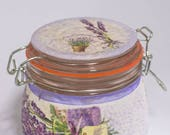 Lavender kitchen decor canister floral romantic decoupage  storage jar garden decor glass gift for her, wife, friend teacher,birthday gift