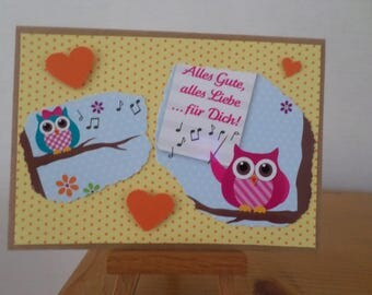 orange card with two owls and hearts