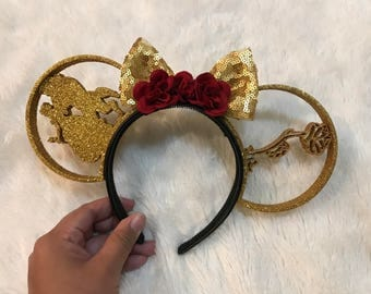 Beauty and the Beast Sequin Bow 3D Ears (full Glitter!)