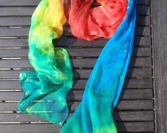 Scarf silk chiffon, multicolor scarf handpainted, handmade, OOAK