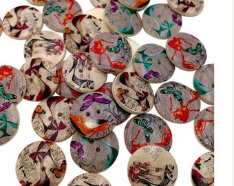 Set of 10 fashion wooden buttons