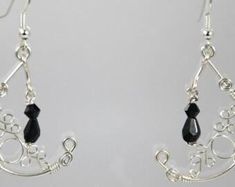 Boucles d'oreilles orientale perle goutte facettée cristal bohème noire