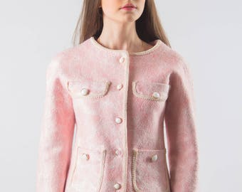 "Felted jacket made of hand-woven wool ""Chanel-style"""