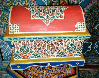 Moroccan painted wooden box painted with an Arabic zalij style trunk shaped by hand, jewelry box