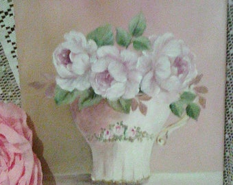 painted canvas is acrylic pink roses