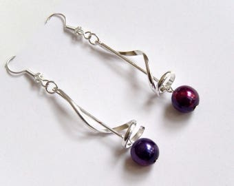 These earrings spiral wedding fuchsia and purple beads