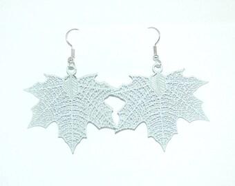White Maple leaves earrings