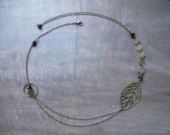 Bronze leaf headband with blackcurrant glass faceted beads