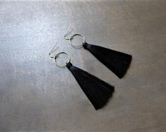 Bronze earrings tassels black with rings