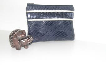 Clutch, purse, wallet, mini makeup Faux Croc leather Navy
