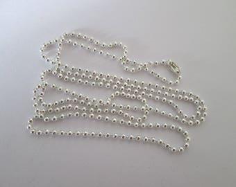 collier chaîne a bille 2 mm en métal argenté 80 cm
