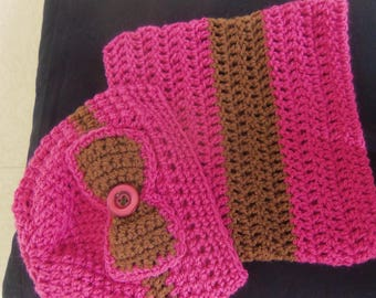Set hat and Snood Brown pink