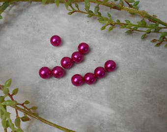 10 acrylic beads - fuchsia - 10mm