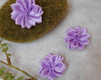 Flower purple satin - 4cm - sold individually