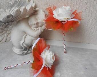 Wand bouquet bridesmaid bouquet - orange white and cream