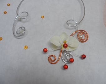 Floral necklace for bride - silver orange and ivory - Orchid