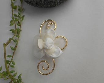 Boutonniere ivory and gold with white flowers artificial - brooch for wedding.